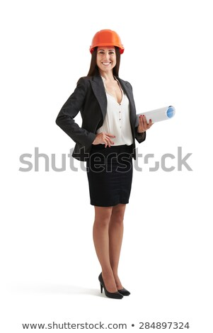 Fiatal nő védősisak tart rajz papír térkép Stock fotó © cherezoff