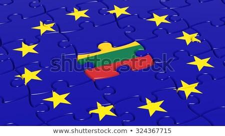 ヨーロッパの 組合 リトアニア フラグ パズル ベクトル ストックフォト © Istanbul2009