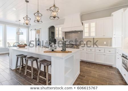 moderno · cozinha · preto · e · branco · versão · estilo · minimalismo - foto stock © manera