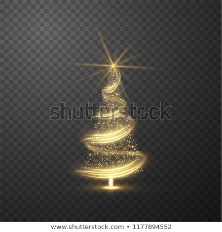 karácsony · mágikus · fa · arany · üdvözlőlap · karácsonyfa - stock fotó © -baks-