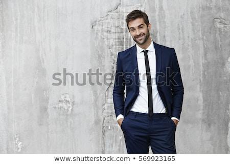 portret · przystojny · podniecony · szczęśliwy · elegancki · odpowiedzialny - zdjęcia stock © konradbak