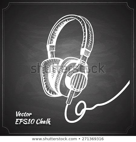 man · hoofdtelefoon · schets · icon · vector · geïsoleerd - stockfoto © rastudio