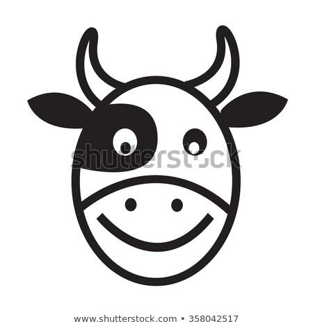 vaca · cabeça · preto · e · branco · comida · cara · arte - foto stock © kiddaikiddee