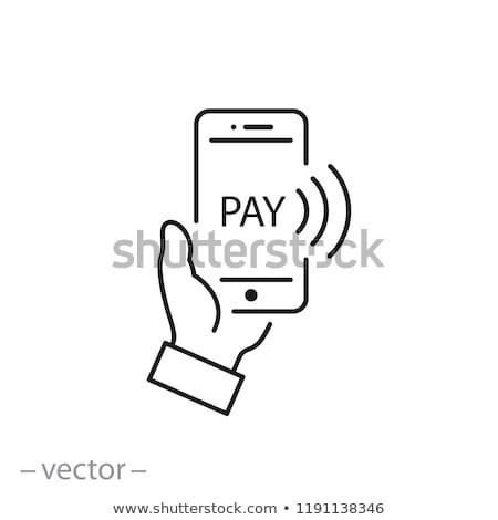 Móviles pago icono negocios gris botón Foto stock © WaD