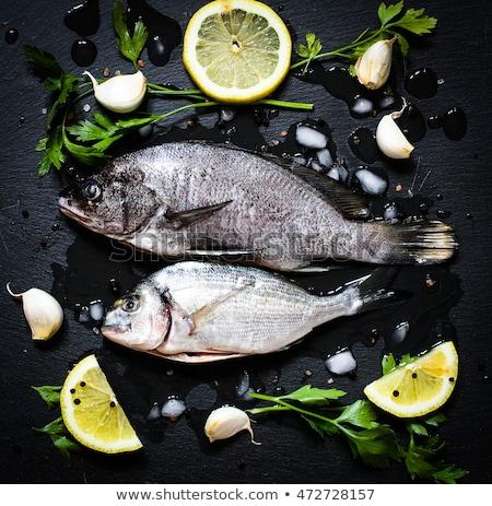 Stockfoto: Vers · vis · zwarte · steen · groenten · citroen