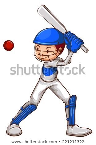 Proste szkic krykieta gracz ilustracja biały Zdjęcia stock © bluering