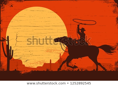 Rodeo cowboy at sunset Stock photo © adrenalina