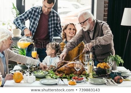 child celebrate thanksgiving day stock photo © adrenalina