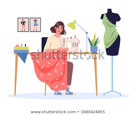 Female using mannequin for sewing Stock photo © dash
