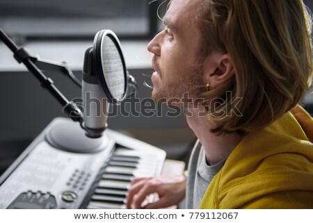 Piosenkarka gry fortepian muzyki koncertu Zdjęcia stock © wavebreak_media