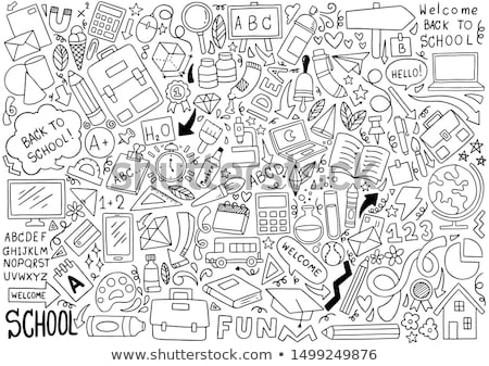 Terug naar school doodle cute school verschillend Stockfoto © zsooofija