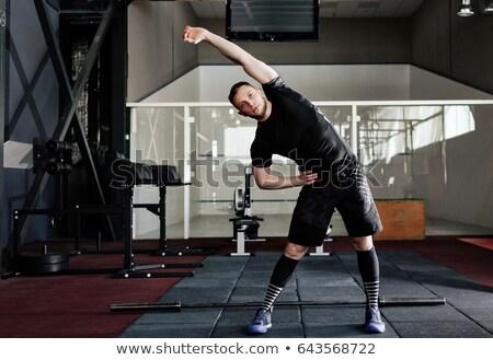 portret · gezonde · man · been · gymnasium - stockfoto © deandrobot