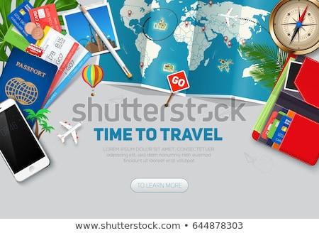 Bandeira anunciar viajar bússola em torno de mundo Foto stock © Olena