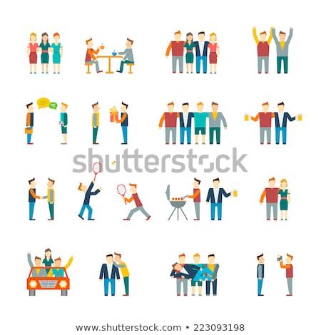 Boldog személy ikon vektor stílus grafikus Stock fotó © ahasoft