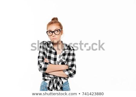 Pensativo jengibre mujer camisa Foto stock © deandrobot