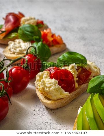Сток-фото: брускетта · томатный · моцарелла · оливкового · продовольствие · фон