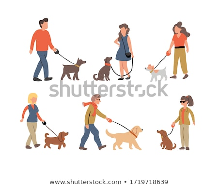 Ayarlamak insanlar köpek örnek aile gülümseme Stok fotoğraf © bluering