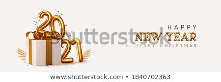 vrolijk · christmas · gelukkig · nieuwjaar · goud · patroon · retro - stockfoto © cienpies