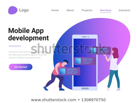 Smartphone Developement Banner with Huge Device Stock photo © robuart