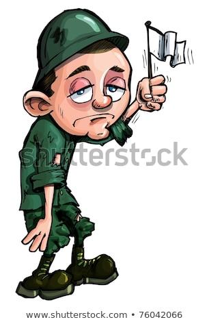 Cartoon soldato bandiera illustrazione esercito bandiera americana Foto d'archivio © cthoman