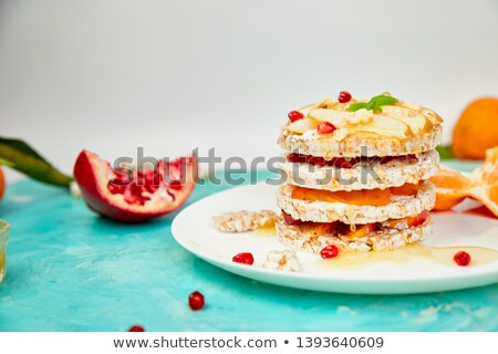 Vegan, diet, organic natural birthday cake with rice crisp  stock photo © Illia