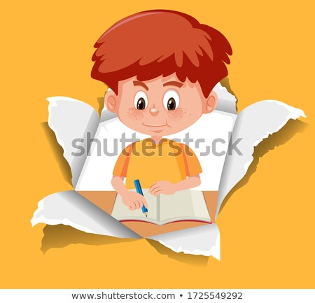 paper template with happy boy and alphabets stock photo © colematt
