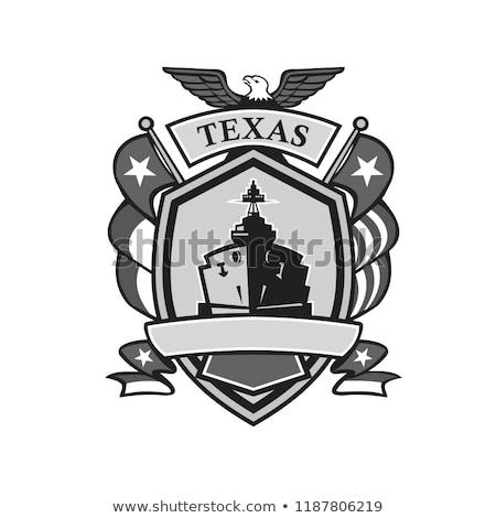 Texas okręt wojenny odznakę maskotka ikona ilustracja Zdjęcia stock © patrimonio