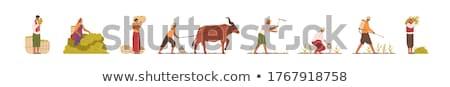 farming woman on plantation vector illustration stock photo © robuart