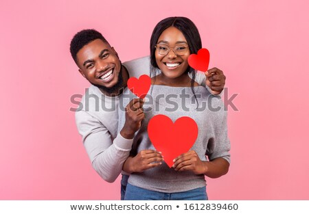 datant · Valentin · carte · postale · illustration · sourire - photo stock © cienpies