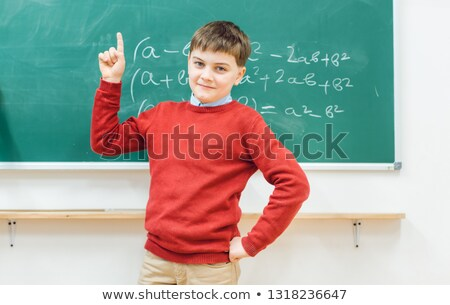 Stock photo: Genius schoolboy could solve the math task