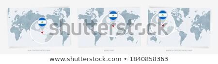 Nikaragua harita dünya haritası bayrak pin Stok fotoğraf © kyryloff