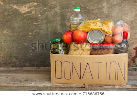Comida doação caixa mesa de madeira papel Foto stock © AndreyPopov