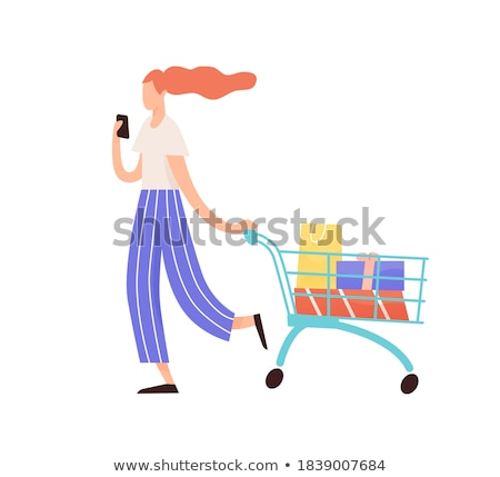 Female Shopaholic Woman with Mobile Phone Vector Stock photo © robuart