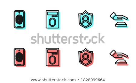 Stok fotoğraf: Doğrusal · cep · telefonu · güvenlik · kalkan · ikon
