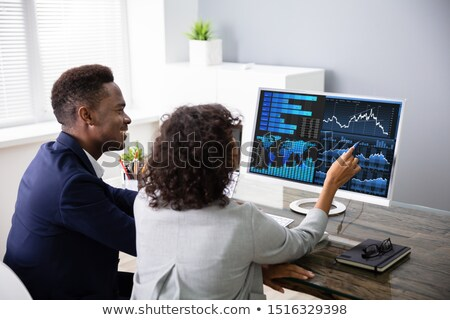 Happy Businesspeople Stock Market Broker Analyzing Graph Stock photo © AndreyPopov