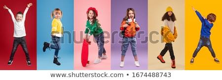 Ingesteld afro-amerikaanse kinderen illustratie dans gelukkig Stockfoto © bluering