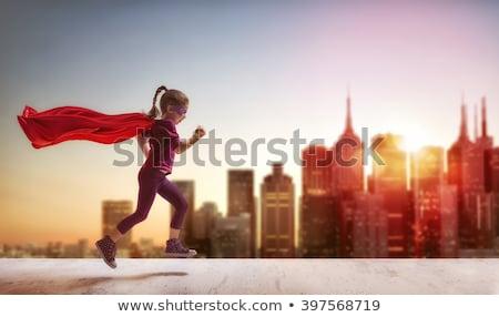 少女 スーパーヒーロー を実行して 実例 幸せ 芸術 ストックフォト © bluering