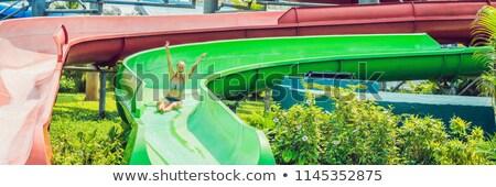 Foto stock: Mulher · parque · aquático · bandeira · longo · formato