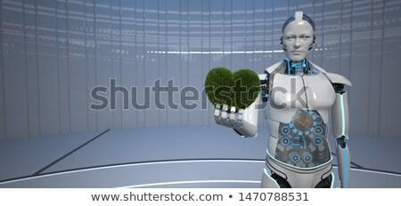 Humanoide eco robot verde corazón hierba Foto stock © limbi007