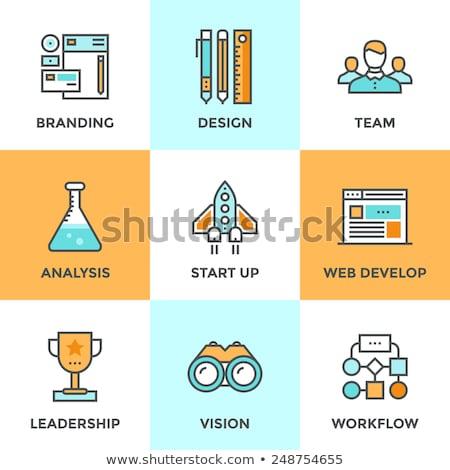 Stock fotó: üzlet · startup · sikeres · csapat · díj · szett