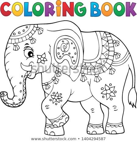 Foto stock: Livro · para · colorir · indiano · elefante · tópico · livro · feliz