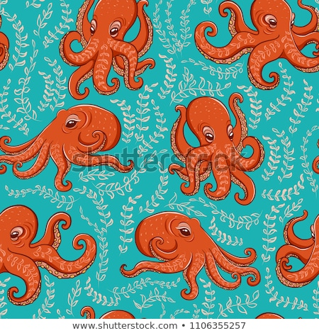 Vector seamless pattern with octopus. Cute cartoon character. Colorful marine life. Underwater creat Stock photo © user_10144511