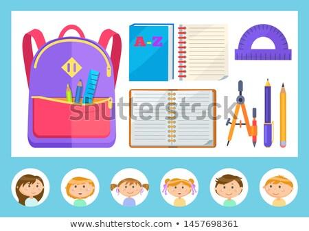 Szkoły materiały biurowe notebooka arkusza powrót do szkoły wektora Zdjęcia stock © robuart