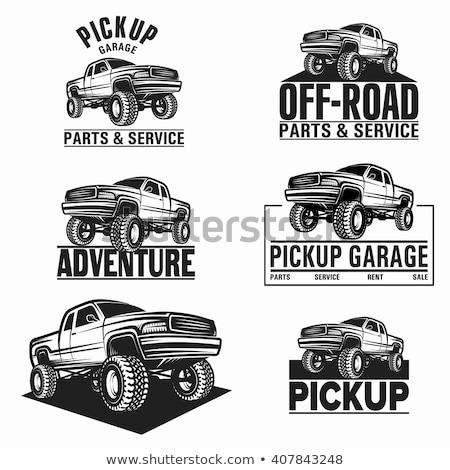 Canavar kamyon karikatür yalıtılmış serin Stok fotoğraf © jeff_hobrath