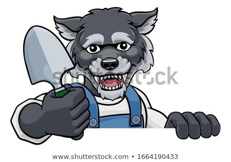 Wolf tuinman tuinieren dier mascotte cartoon Stockfoto © Krisdog