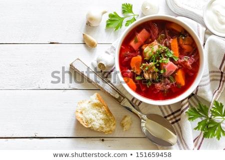 Traditionnel végétarien rouge soupe blanche Photo stock © Illia