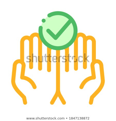 Hands Fingers Palms Up Approved Mark Vector Icon Stock photo © pikepicture