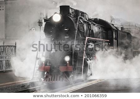 öreg gőzmozdony vasút vonat érkezik vágány Stock fotó © Arsgera