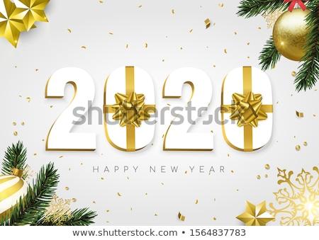 Neujahr Gold 3D Zahl Kiefer Blatt Stock foto © cienpies