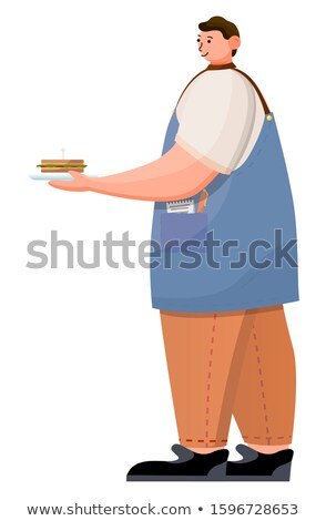 Barista or Waiter in Coffeehouse Carry Sandwich Stock photo © robuart